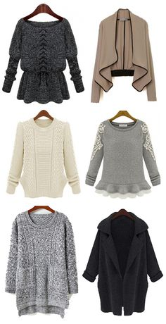 Sweater Weather! Lovely, soft, comfy sweaters in grey, tan, ivory, and more! Click to see TONS more options. #fashion #sweater