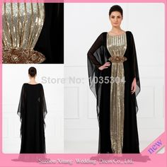 M0509 Black Gold Beads Chiffon Kaftan Abayas arabic dubai muslim evening dress 2014