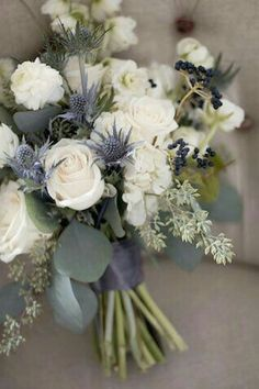 Beautiful for a Winter Wedding...cream, blue and grey.