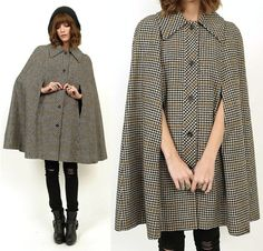 70's Pendleton PLAID Wool TWEED Cape Coat by MamaStoneVintage, $98.00