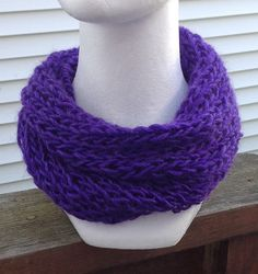 Royal Purple Knitted Infinity Eternity Cowl by JilleBeansCreations