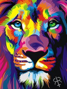 Rainbow Lion Colorful Animal Paintings, Colorful Animals, Arte Pop, Animal Drawings, Art Drawings, Lion Tapestry, Tapestry Wall, Rainbow Lion, Lion Drawing