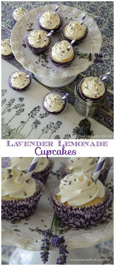 Lavender Lemonade Cupcakes, a quick and easy recipe using a boxed cake mix, frozen lemonade concentrate and dried culinary lavender! #lavender