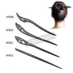 1 Pc Women Vintag Style Handmade Carved Wooden Hair Stick Pin Wood Black #Unbranded #AnyOccasion