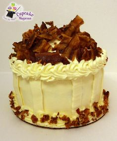 """""""Big Top"""" Pancakes and Bacon Birthday Cake: Maple cake with a maple butter cream topped off with pieces of fresh, chopped, smokey bacon — at Cupcake Magician in Red Bank, New Jersey http://www.cupcakemagicianonline.com/"""