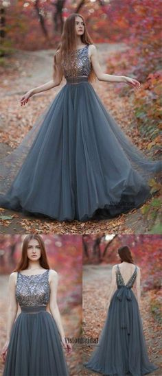 Scoop Neckline V-Back Top Sequin With Beaded A-Line Floor Length Tulle Prom Dress, Beautiful Prom Dress, VB0466 #promdress #promdresses #longpromdresses