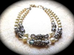 Double Strand Necklace Pearl with AB Crystals by JNPVintageJewelry