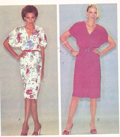 Women's Belted Dress VNeck Vintage 80's Sewing by Sutlerssundries, $5.99
