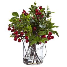 Adding the look of nature with carefree convenience to your home or office, the Berry and Boxwood Arrangement in Glass Canning Jar from Nearly Natural never needs watering or pruning. This charming vintage style accents a table or desk. Mason Jar Vases, Glass Jars, Bud Vases, Clear Glass, Christmas Centerpieces, Christmas Decorations, Christmas Ideas, Christmas Arrangements, Christmas Flowers