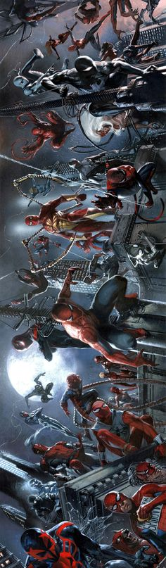 Spider-Verse by Gabriele Dell'Otto - Spiderman Marvel Comic Book Characters, Comic Book Heroes, Marvel Characters, Comic Books Art, Comic Art, Marvel Comics, Anime Comics, Marvel Heroes, Marvel Avengers