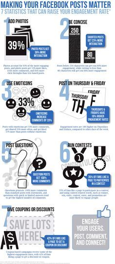 7 Statistics That Can Raise Your Facebook Engagement Rate For more social media marketing tips and resources visit http://www.socialmediamamma.com?utm_content=buffer8a619&utm_medium=social&utm_source=pinterest.com&utm_campaign=buffer Social Media Infographic