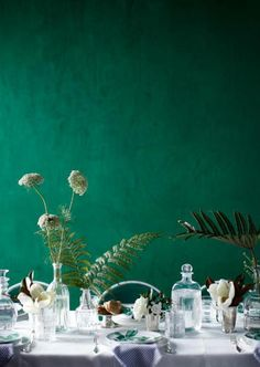 Emerald Green Wedding Inspiration   Table Decor + Accent Wall