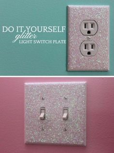 Best DIY Room Decor Ideas for Teens and Teenagers - Glitter Light Switch Plates - Best Cool Crafts, Bedroom Accessories, Lighting, Wall Art, Creative Arts and Crafts Projects, Rugs, Pillows, Curtains, Lamps and Lights - Easy and Cheap Do It Yourself Ideas for Teen Bedrooms and Play Rooms http://diyprojectsforteens.com/diy-room-decor-ideas-teens #artsandcraftslamp