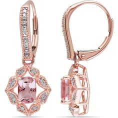 Miadora 10k Rose Gold Morganite and 1/10ct TDW Diamond Earrings (510 CAD) ❤ liked on Polyvore featuring jewelry, earrings, rose gold dangle earrings, diamond earring jewelry, round diamond earrings, pink gold earrings and diamond dangle earrings