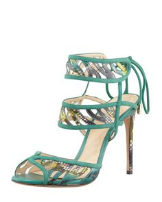 Double Ankle-Wrap Sandal, Navy/Cactus by Alexandre Birman at Neiman Marcus.