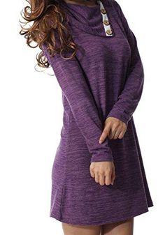 5a2ea787c70c levaca Women s Long Sleeve Button Deco Neck Loose Casual Short T Shirt Dress