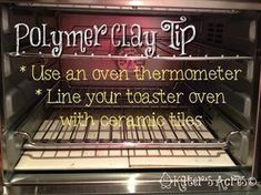 How to Bake Polymer Clay - Good discussion of basics & how to stabilize small ovens with ceramic tiles. #Polymer #Clay #Tutorials