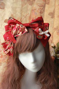 Cotton Big Bow Red Lolita Headdress, 4 Colors | Know more >> http://www.wholesalelolita.com/cotton-big-bow-coffee-lolita-headdress-p-13823.html