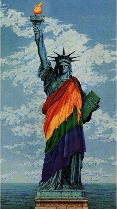Statue of Liberty Support gay and lesbian partnerships: getting in, getting out, and planning for in sickness and in health with wills, powers of attorney and estate planning. Lesbian Pride, Lesbian Love, Lgbt Rights, Equal Rights, Lgbt Community, Statue Of Liberty, Orlando, Rainbows, Beautiful