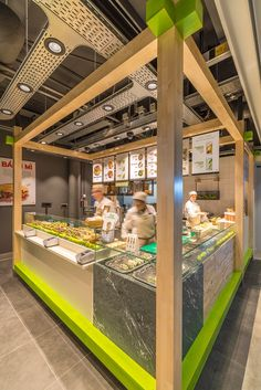 Enoki Fast Food Restaurant by VBAT, Utrecht – Netherlands. Enoki is a healthy . - Enoki Fast Food Restaurant by VBAT, Utrecht – Netherlands. Enoki is a healthy fast food Asian con - Healthy Restaurant Design, Fast Food Restaurant, Restaurant Interior Design, Cafe Restaurant, Restaurant Recipes, Kiosk Design, Cafe Design, Retail Design, Store Design