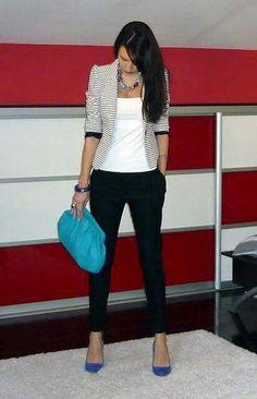 Striped blazer, white top, black  ankle pants, royal blue shoes and royal blue bag.