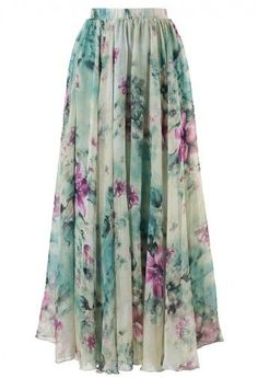 Floral and Frill Maxi Skirt . . . I NEED to find fabric like this and make myself one!