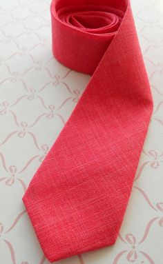 Coral Fuchsia Silk Linen Neck Tie by HandsomeAndLace on Etsy, $72.00
