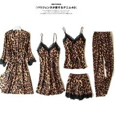 New Sexy Ladies 5 Pieces Pajamas Set Autumn Leopard Print Lace Ice Satin Silk Women Pajamas Set With Chest Pads Home service Leopard Outfits, Pajamas Women, Silk Satin, Pajama Set, Sexy Women, Rompers, Lady, My Style, Lace
