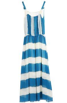 Blue White Striped Spaghetti Strap Chiffon Dress