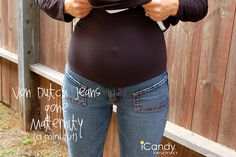 diy maternity jeans. Super simple. Uses just an existing pair of jeans and one of those stretchy belly bands you buy at Target or Motherhood