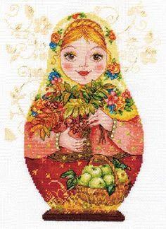 """Набор для вышивания  арт.Алиса - 606 """"Матрешки. Осенняя-краса"""" 19х26см"""
