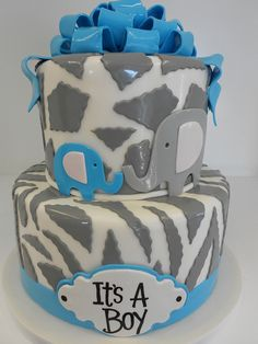 Animal Print, Boy Baby Shower Cake
