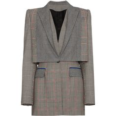 Alexander McQueen Prince of Wales checked wool blazer ($3,375) ❤ liked on Polyvore featuring outerwear, jackets, blazers, grey, blazer jacket, alexander mcqueen blazer, wool blazer, grey jacket and multi coloured jacket