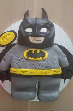Lego batman cake. Tricky black fondant, doesn't mix well with humidity but turned out OK in the end
