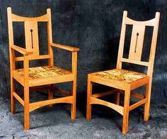 CFA Voysey Arts & Crafts Movement style Oak carver and Dining Chairs