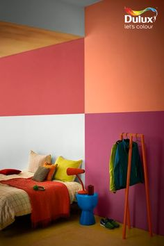 Bold, vibrant colours - we love this master bedroom! Half Painted Walls, Orange Interior, Vibrant Colors, Colours, Amazing Spaces, Creative Director, Color Combinations, Wall Murals, Master Bedroom