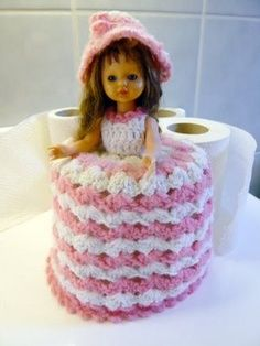 Aaaah! Macrame Barbie to fit on toilet paper roll!!! Who didn't make one?
