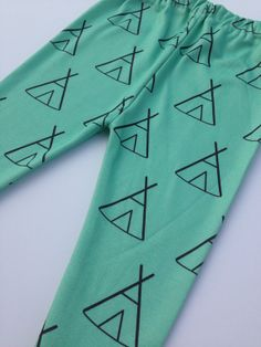 Mint Green Teepee Tipi Organic Cotton Knit Pants Leggings for Babies, Toddlers and Kids - Boy or Girl