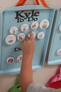 Magnetic chore chart with pictures