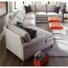 My Style II Customizable Sectional Sofa With Rolled Arms, Tapered Legs And  Box Style Back Cushions By Rowe