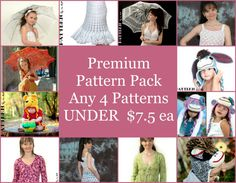 Four PDF Premium Crochet Pattern Pack  $25.00 CAD    Pack of 4 PDF Patterns -    Please choose any 4 patterns from the list bellow and add your specifications when checking out!    A• Crochet Bunny Hat with Flower PDF Pattern  B• NEWSBOY HAT - Cap with Brim PDF Pattern  C• Funky Tails PDF Pattern  D• Chunky Crochet Flower PDF Pattern  E• Princess of Vikings PDF Pattern  F• Whimsical Pixie Beanie Hat with Ivy and Flowers PDF Pattern  G• Blinky Koala Bear Hat PDF Pattern  H• Crazy Frogs Baby…
