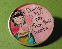 Bordado de la mano de Frida Kahlo por ThatsSewKay en Etsy