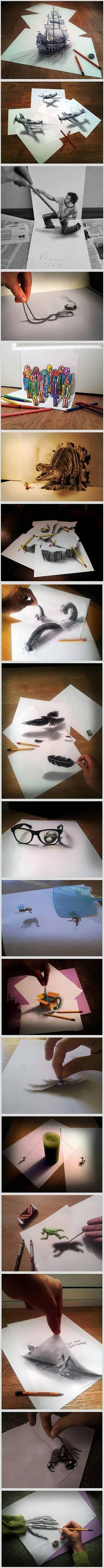 A mostly self-taught artist from the Netherlands now has a whole bunch of new 3D optical illusions. Ramon continues to draw with regular pencils and keeps developing his anamorphic techniques, that make the paintings look 3D. No wonder that every time you see a prop he left by the drawing, you start questioning if this one is actually real!