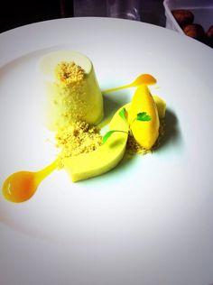 Twitter / Lawson_chef: @jo Wilson your dessert in action: kaffir lime leaf panna cotta, passionfruit bavarois, mango sorbet