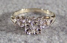 Vintage 14K White Yellow Gold Diamond Engagement Ring, Size 5  (This is perfect!!!!)