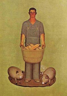 1932 Grant Wood (American regionalist artist, 1891-1942) Iowa's Products