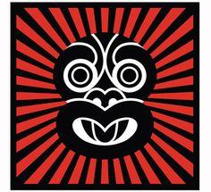 Discover Me : Prints NZ : Sunburst Tiki (Red) by Greg Straight