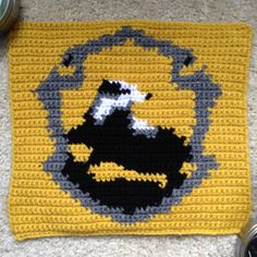 Hufflepuff House Crest square for Harry Potter Afghan