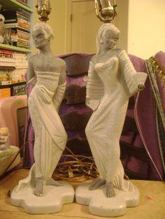 Reglor of California Lamp Pair 1950 Vintage Dancers - Chalkware