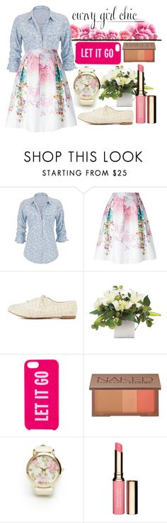 """Floral OVERLOAD"" by afabusername ❤ liked on Polyvore featuring maurices, Piccione•Piccione, Charlotte Russe, Kate Spade, Urban Decay, Clarins, celebration, contestentry and PVCurvyChic"